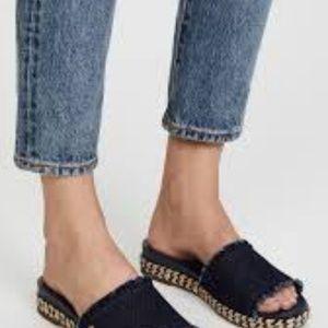 Kate Spade Zahara Black Slides Gold Logo Size 7